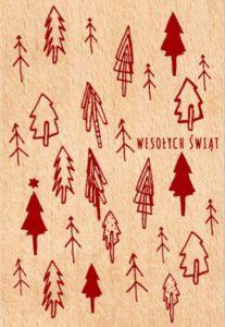 Drewniane ozdoby na Boże Narodzenie - kartka pocztowa
