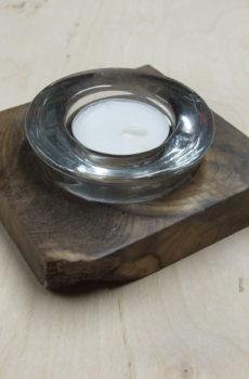 Świecznik drewniany (orzech) na 1 podgrzewacz (tealight) prostokątny