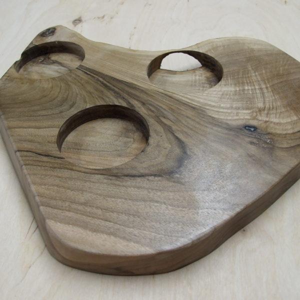 Świecznik drewniany (orzech) na 3 podgrzewacze (tealighty) nieregularny