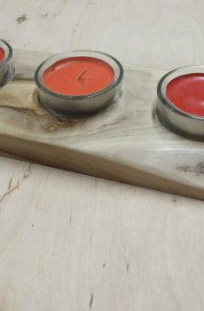 Świecznik drewniany (orzech) na 3 podgrzewacze (tealighty) prostokątny
