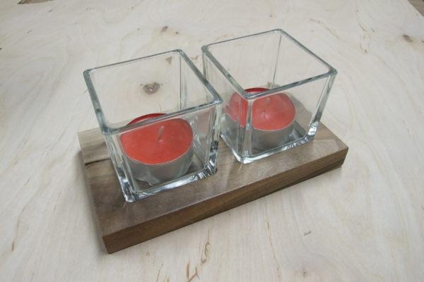 Świecznik drewniany (orzech) na 2 podgrzewacze (tealighty) prostokątny